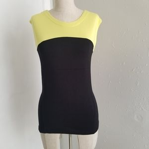 Vince Camuto yellow black block sleeveless top S
